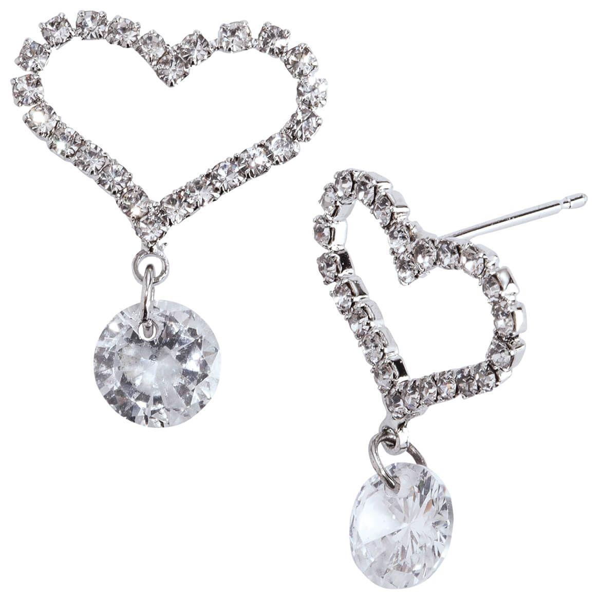 Heart Shaped CZ Earrings with Crystal Dangle-370356