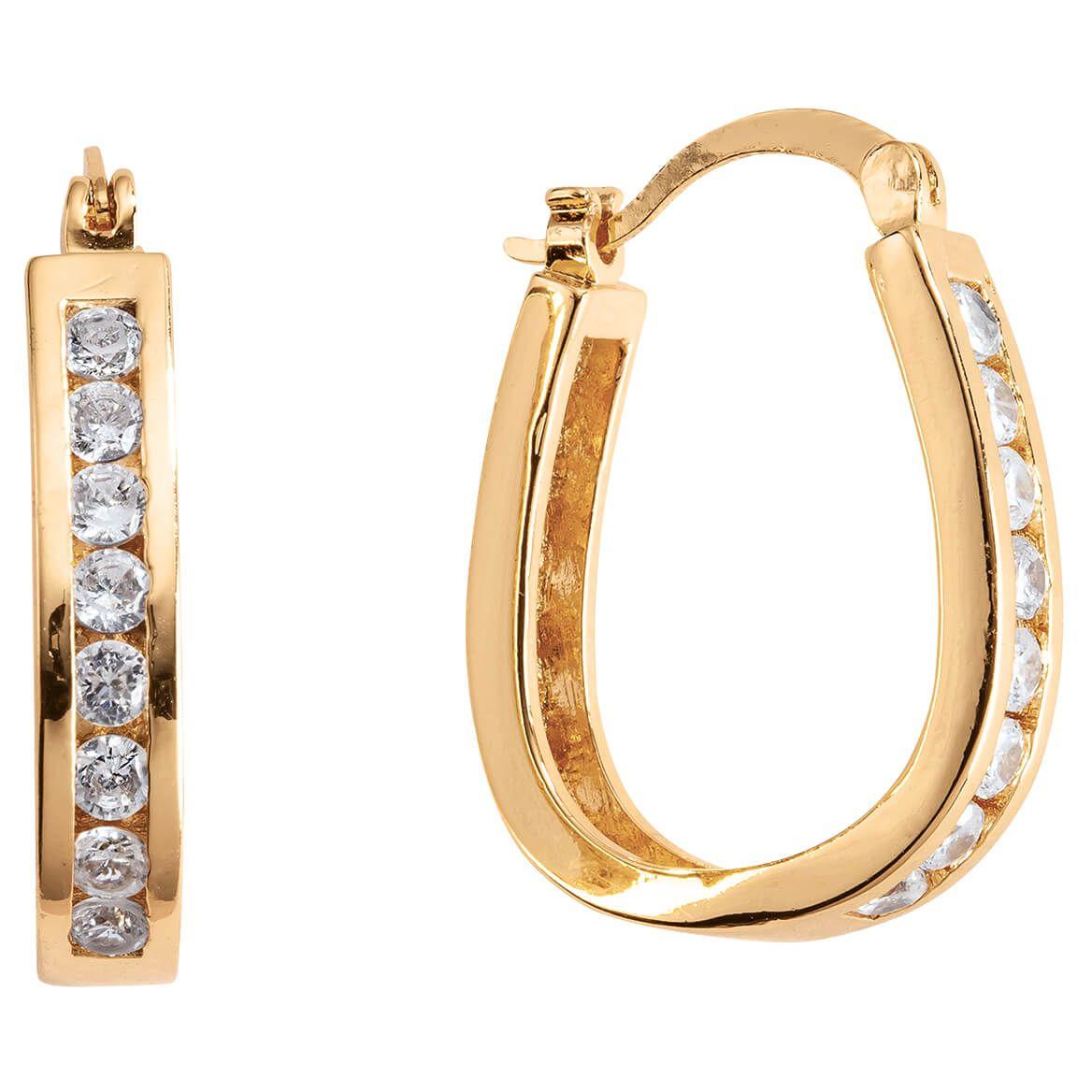 Simulated Diamond Oval Hoop Earrings-370357