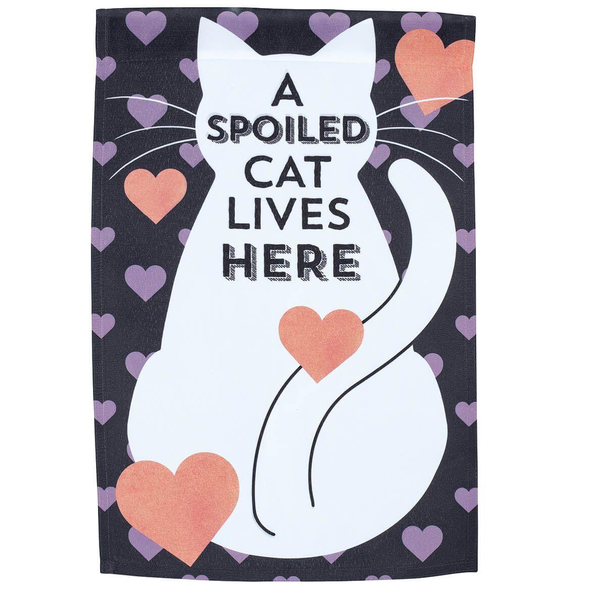 Spoiled Cat Lives Here Garden Flag-370447