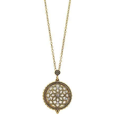 Filigree Magnifier Necklace with Crystal Accents-371210