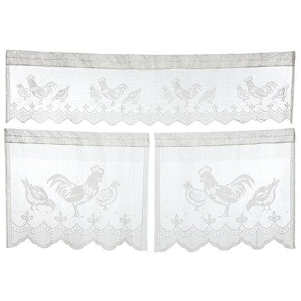 3-Piece Rooster Lace Curtain Set-371551