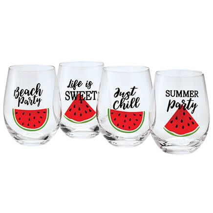 Watermelon Stemless Wine Glasses by Home Marketplace™, Set of 4-371622