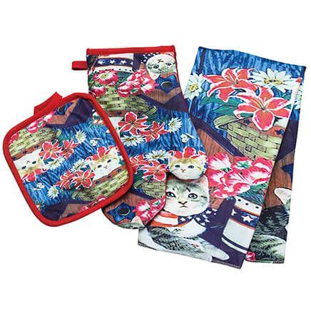 Kitten Patriotic Towel, Oven Mitt and Potholder Set-371629