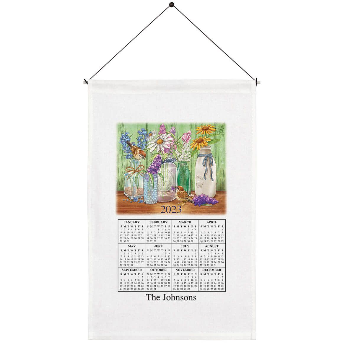 Personalized Floral Mason Jar Calendar Towel-371779