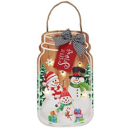 Lighted Let it Snow Mason Jar Hangin by Holiday Peak™-371869