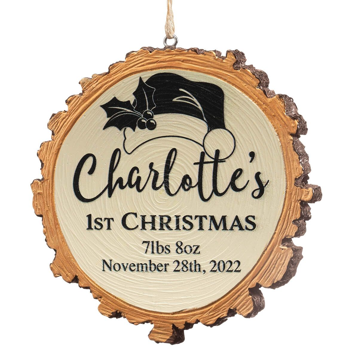 Personalized Baby's 1st Christmas Resin Wood Slice Ornament-372087