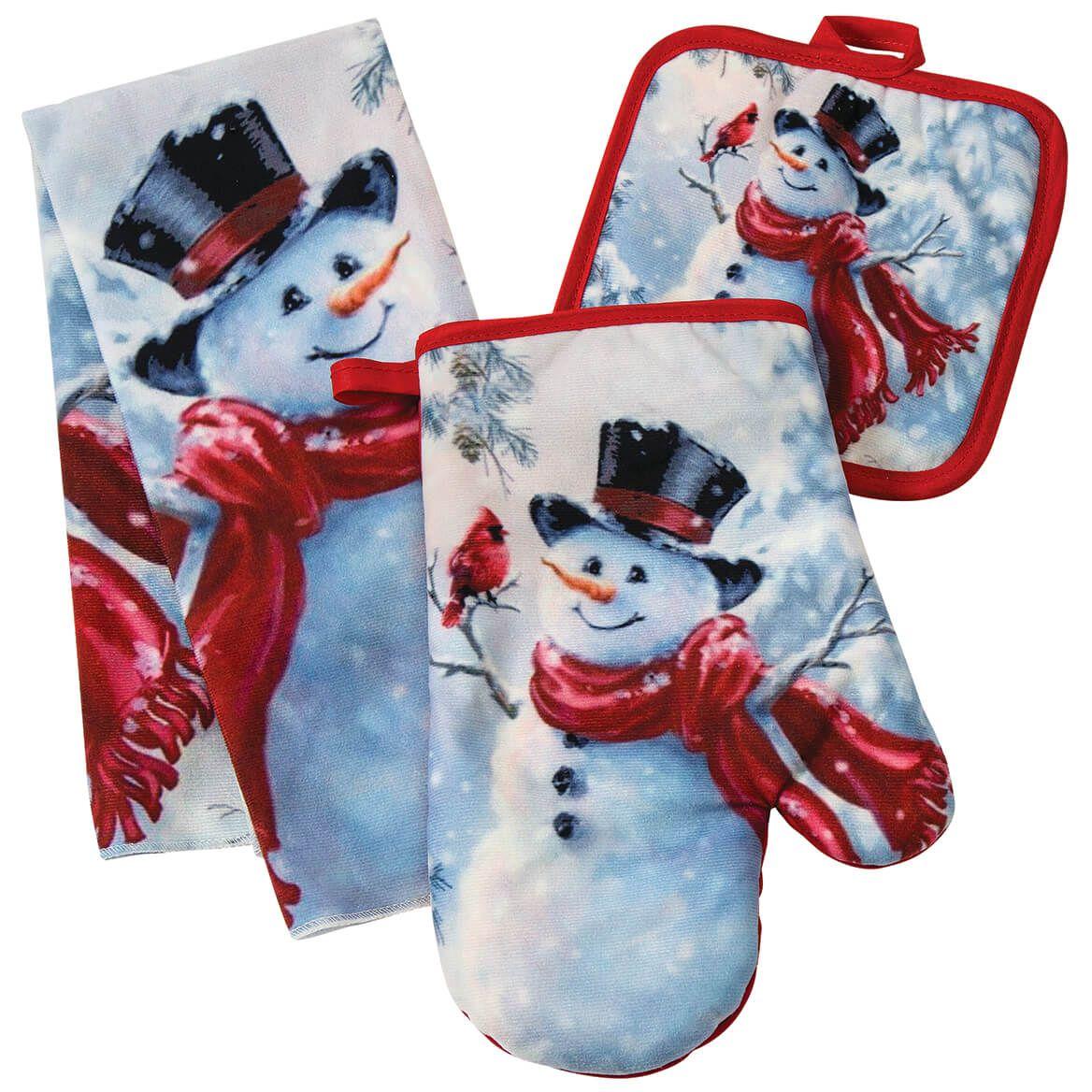 Snowman and Cardinal Christmas Towel and Potholder Set of 3-372216